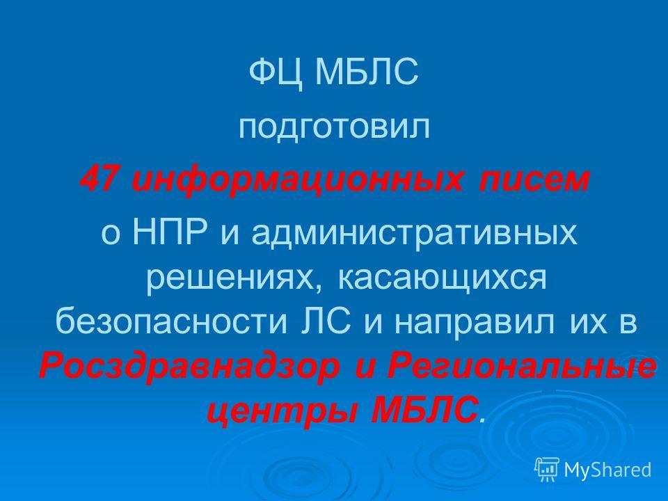 ФЦ МБЛС подготовил 47 информационных писем о НПР и административных решениях, касающихся безопасности ЛС и направил их в Росздравнадзор и Региональные центры МБЛС.