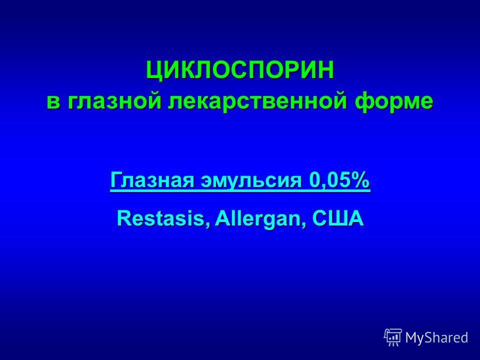 ЦИКЛОСПОРИН в глазной лекарственной форме Глазная эмульсия 0,05% Restasis, Allergan, США