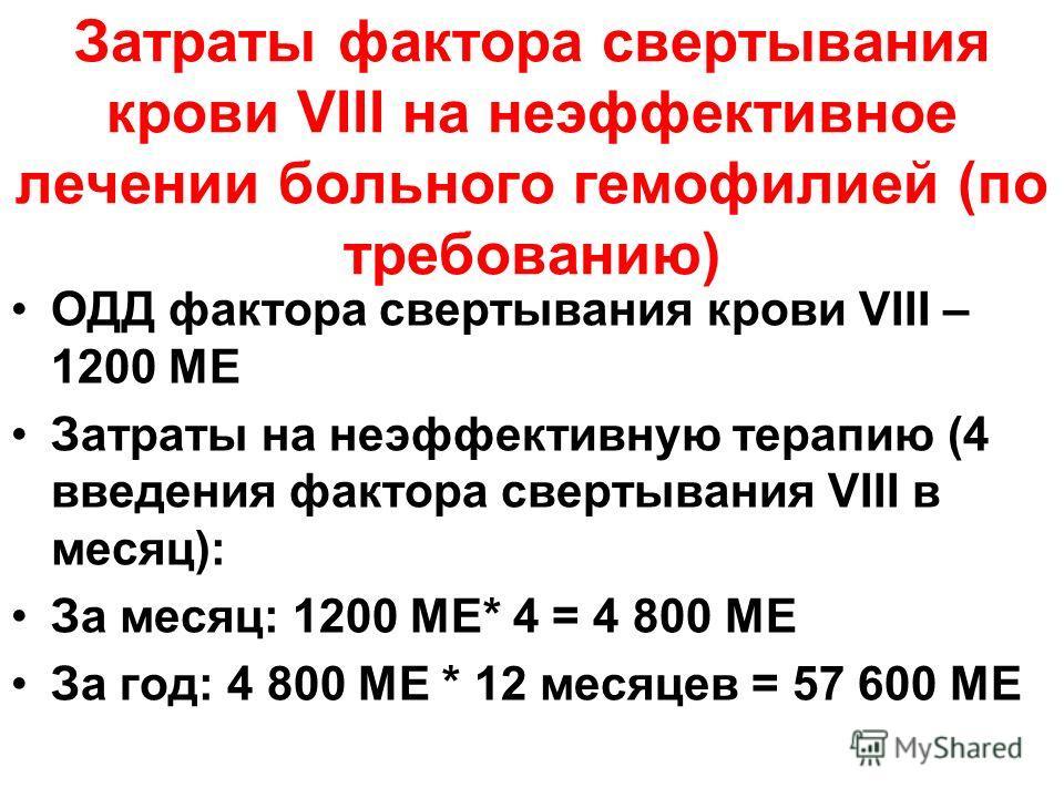Затраты фактора свертывания крови VIII на неэффективное лечении больного гемофилией (по требованию) ОДД фактора свертывания крови VIII – 1200 МЕ Затраты на неэффективную терапию (4 введения фактора свертывания VIII в месяц): За месяц: 1200 МЕ* 4 = 4