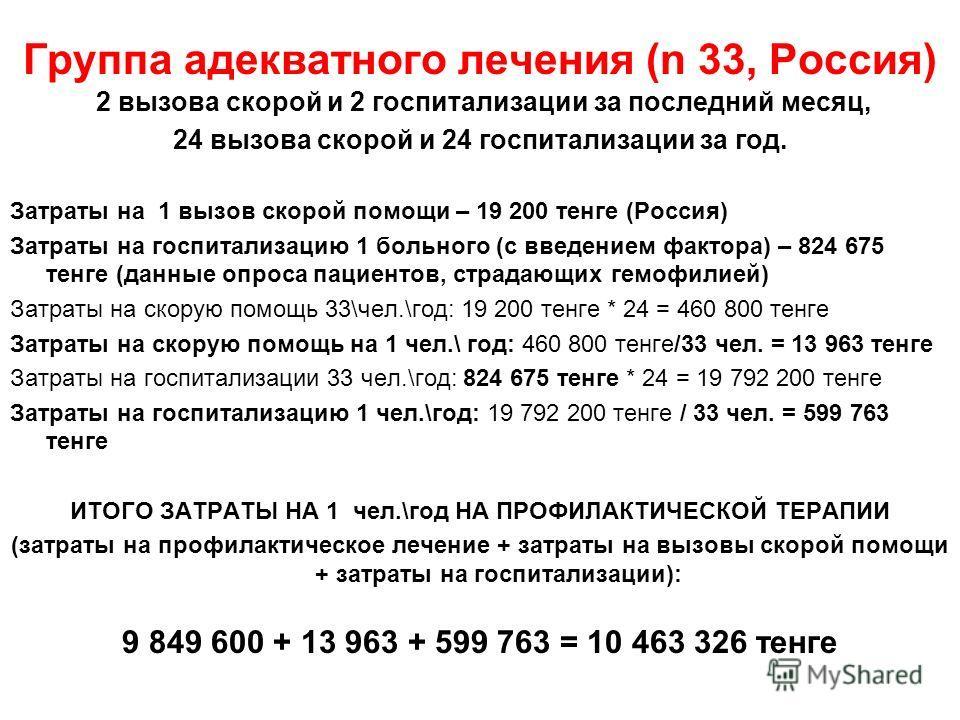 Группа адекватного лечения (n 33, Россия) 2 вызова скорой и 2 госпитализации за последний месяц, 24 вызова скорой и 24 госпитализации за год. Затраты на 1 вызов скорой помощи – 19 200 тенге (Россия) Затраты на госпитализацию 1 больного (с введением ф