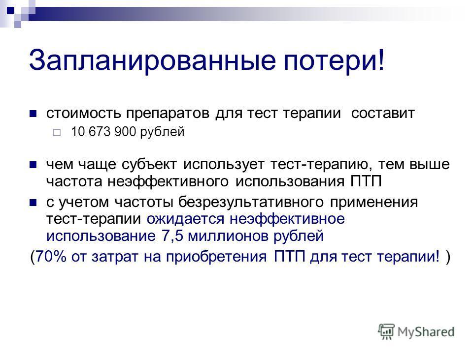 Запланированные потери! стоимость препаратов для тест терапии составит 10 673 900 рублей чем чаще субъект использует тест-терапию, тем выше частота неэффективного использования ПТП с учетом частоты безрезультативного применения тест-терапии ожидается