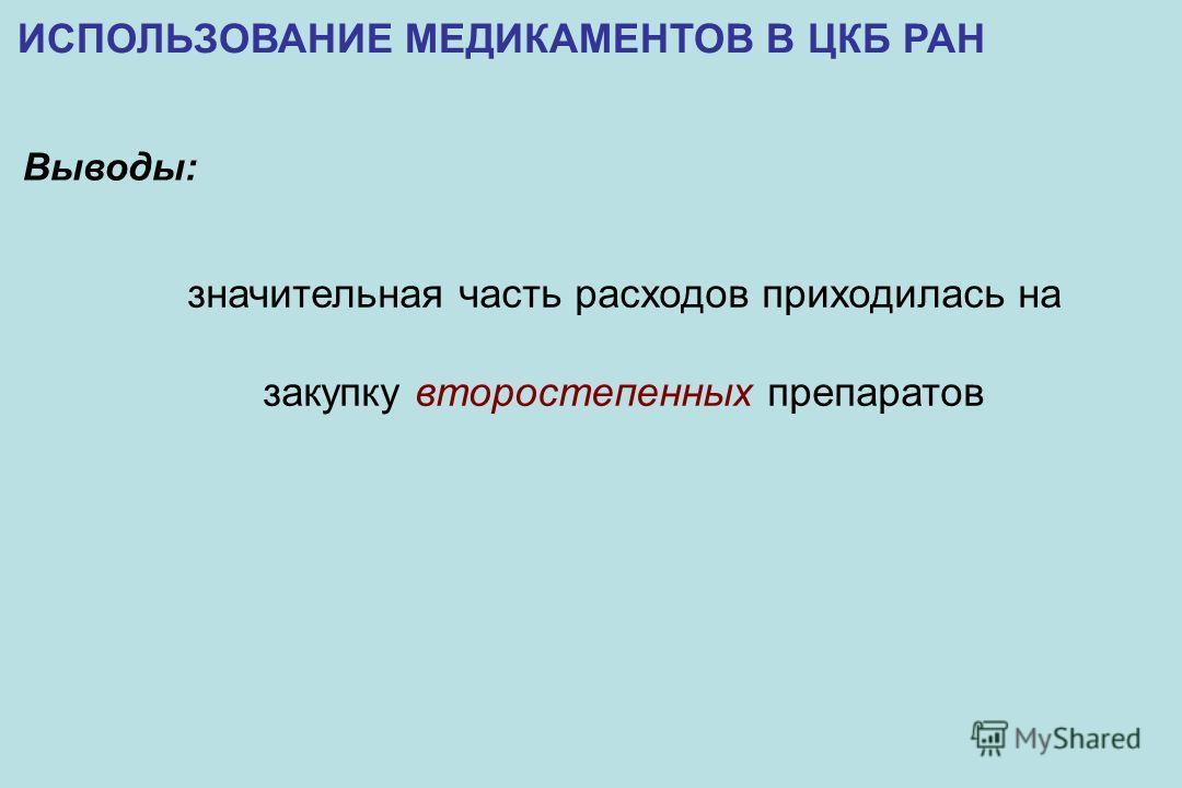 ИСПОЛЬЗОВАНИЕ МЕДИКАМЕНТОВ В ЦКБ РАН значительная часть расходов приходилась на закупку второстепенных препаратов Выводы: