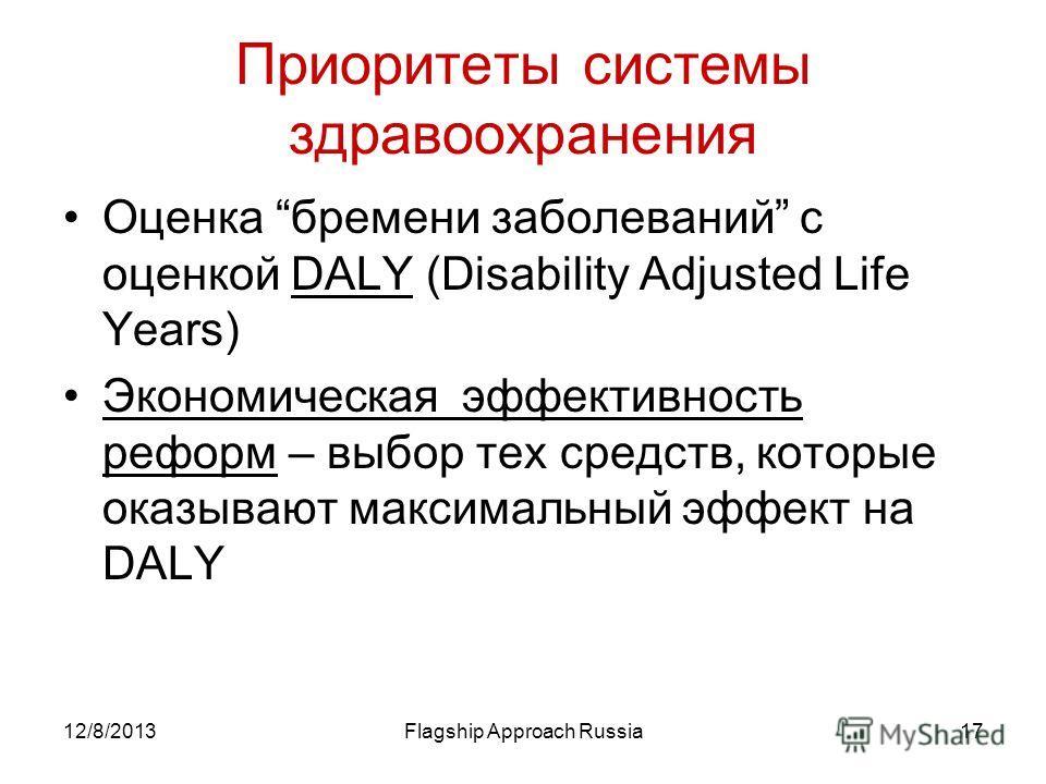 12/8/2013Flagship Approach Russia17 Приоритеты системы здравоохранения Оценка бремени заболеваний с оценкой DALY (Disability Adjusted Life Years) Экономическая эффективность реформ – выбор тех средств, которые оказывают максимальный эффект на DALY
