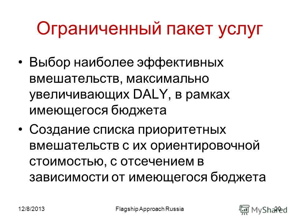 12/8/2013Flagship Approach Russia20 Ограниченный пакет услуг Выбор наиболее эффективных вмешательств, максимально увеличивающих DALY, в рамках имеющегося бюджета Создание списка приоритетных вмешательств с их ориентировочной стоимостью, с отсечением