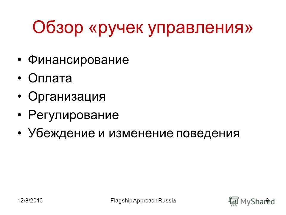 12/8/2013Flagship Approach Russia9 Обзор «ручек управления» Финансирование Оплата Организация Регулирование Убеждение и изменение поведения