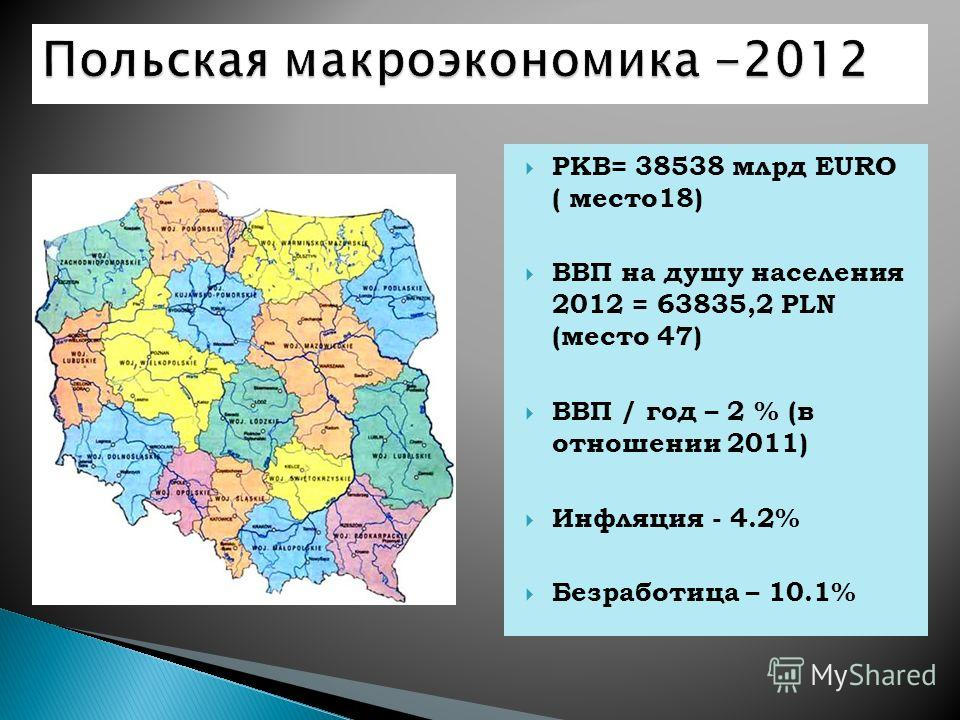 PKB= 38538 млрд EURO ( место18) ВВП на душу населения 2012 = 63835,2 PLN (место 47) ВВП / год – 2 % (в отношении 2011) Инфляция - 4.2% Безработица – 10.1%