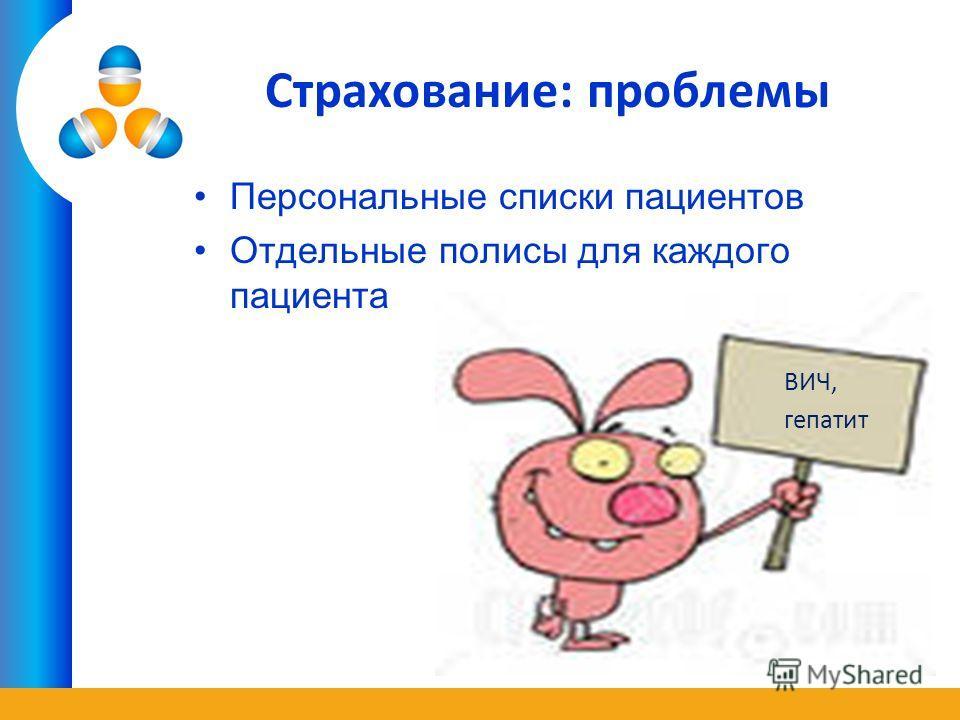 Страхование: проблемы Персональные списки пациентов Отдельные полисы для каждого пациента ВИЧ, гепатит