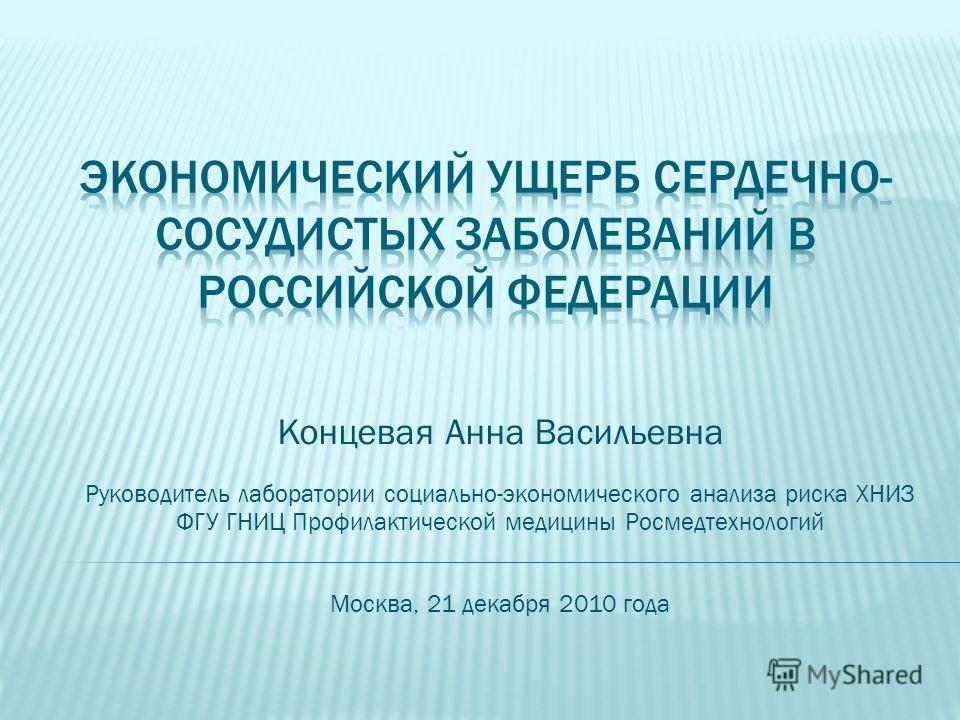Концевая Анна Васильевна Руководитель лаборатории социально-экономического анализа риска ХНИЗ ФГУ ГНИЦ Профилактической медицины Росмедтехнологий Москва, 21 декабря 2010 года