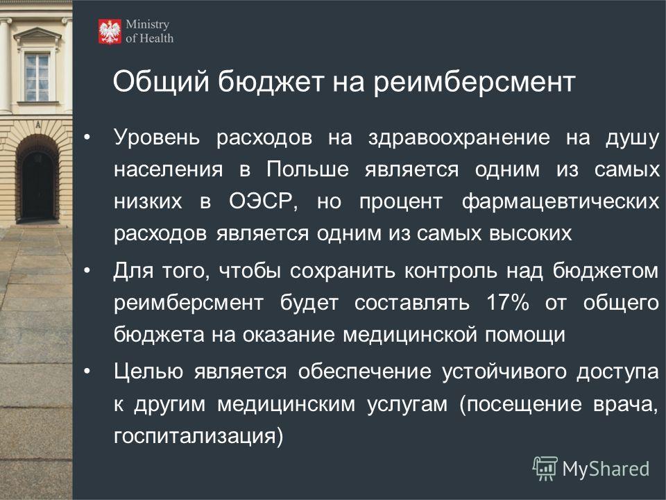 Общий бюджет на реимберсмент Уровень расходов на здравоохранение на душу населения в Польше является одним из самых низких в ОЭСР, но процент фармацевтических расходов является одним из самых высоких Для того, чтобы сохранить контроль над бюджетом ре