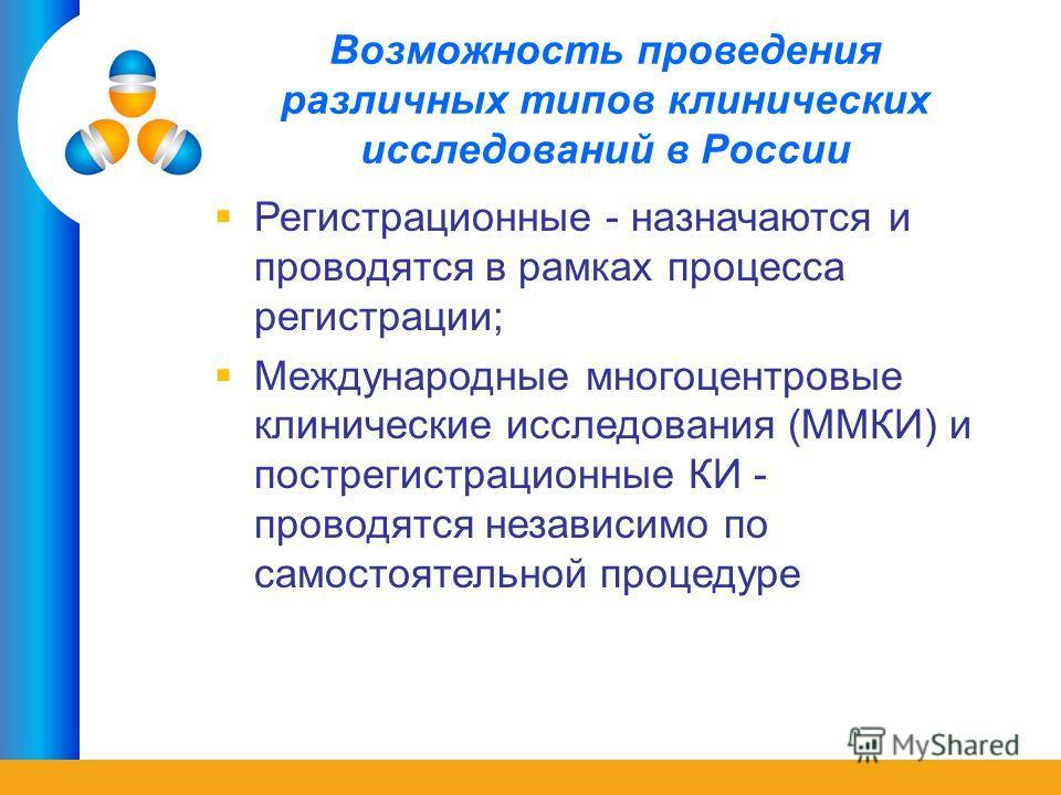 Возможность проведения различных типов клинических исследований в России Регистрационные - назначаются и проводятся в рамках процесса регистрации; Международные многоцентровые клинические исследования (ММКИ) и пострегистрационные КИ - проводятся неза