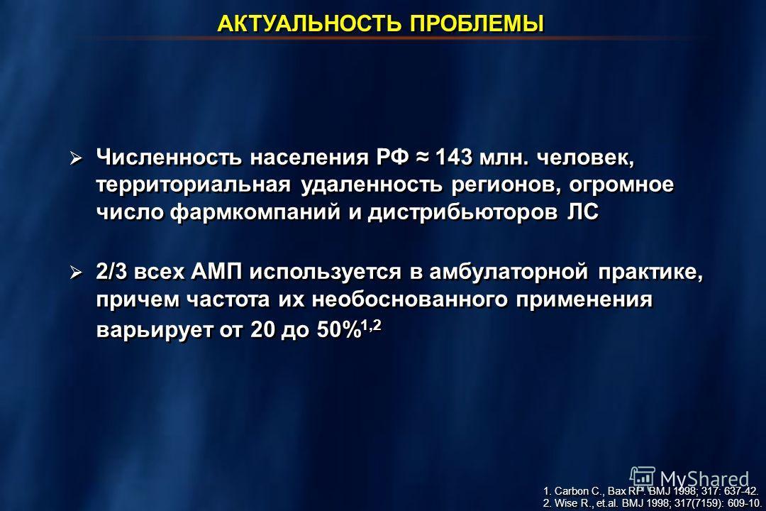 Численность населения РФ 143 млн. человек, территориальная удаленность регионов, огромное число фармкомпаний и дистрибьюторов ЛС 2/3 всех АМП используется в амбулаторной практике, причем частота их необоснованного применения варьирует от 20 до 50% 1,