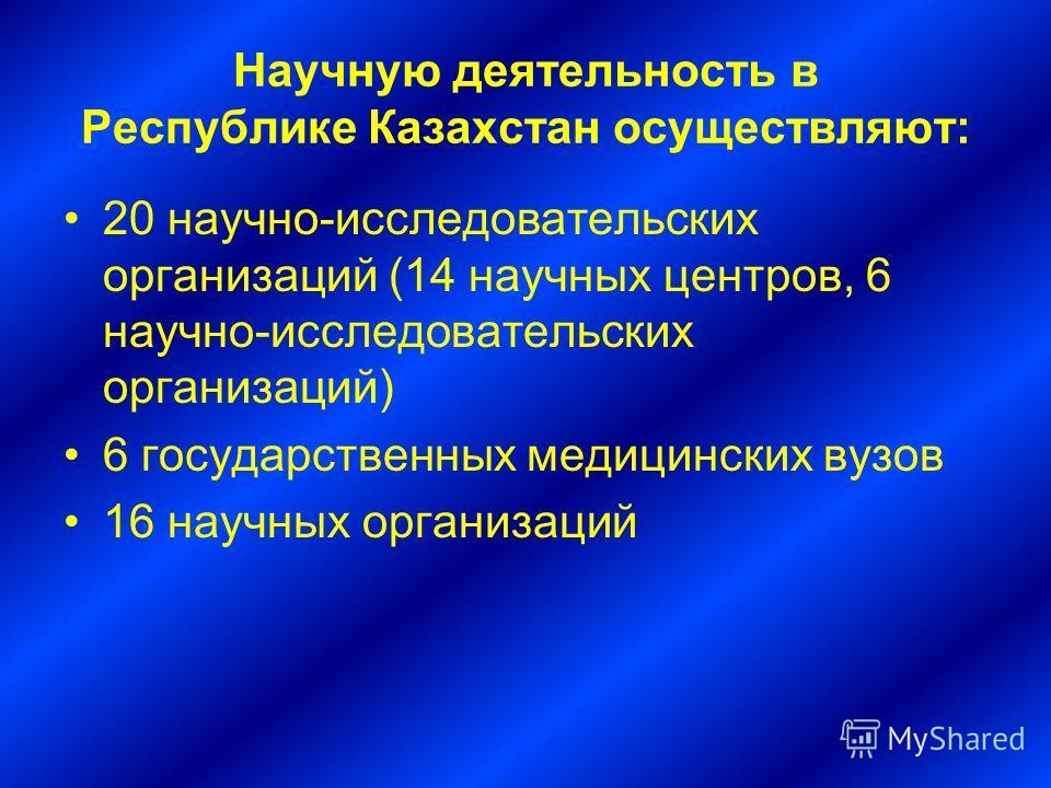 Научную деятельность в Республике Казахстан осуществляют: 20 научно-исследовательских организаций (14 научных центров, 6 научно-исследовательских организаций) 6 государственных медицинских вузов 16 научных организаций