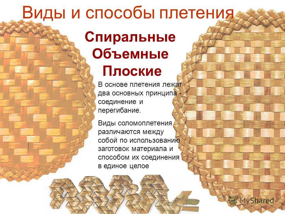 В основе плетения лежат два основных принципа - соединение и перегибание. Виды соломоплетения различаются между собой по использованию заготовок материала и способом их соединения в единое целое Виды и способы плетения Спиральные Объемные Плоские