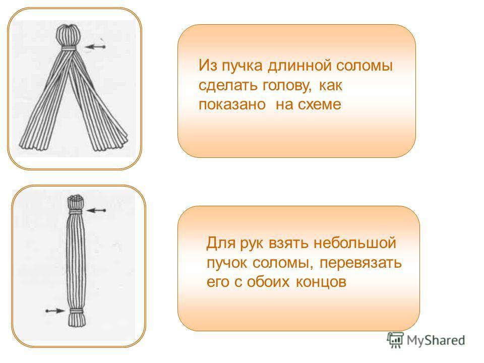 Из пучка длинной соломы сделать голову, как показано на схеме Для рук взять небольшой пучок соломы, перевязать его с обоих концов
