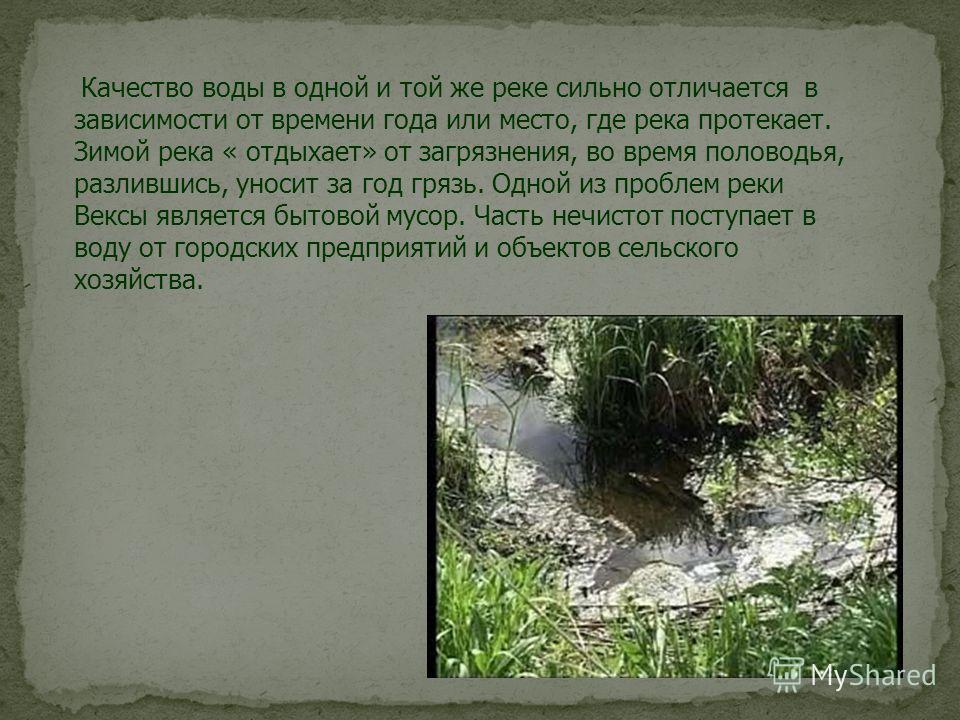 Качество воды в одной и той же реке сильно отличается в зависимости от времени года или место, где река протекает. Зимой река « отдыхает» от загрязнения, во время половодья, разлившись, уносит за год грязь. Одной из проблем реки Вексы является бытово