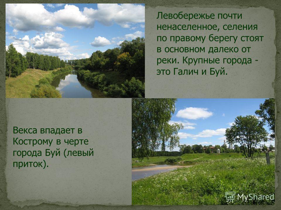 Левобережье почти ненаселенное, селения по правому берегу стоят в основном далеко от реки. Крупные города - это Галич и Буй. Векса впадает в Кострому в черте города Буй (левый приток).