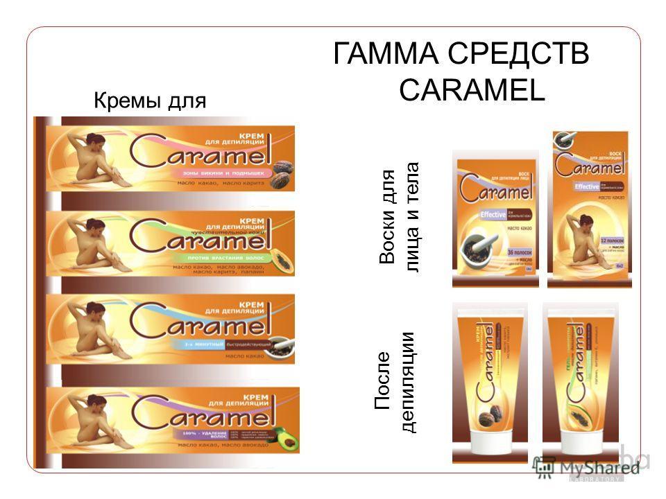 Кремы для депиляции Воски для лица и тела После депиляции ГАММА СРЕДСТВ CARAMEL