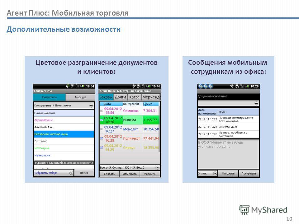 10 Цветовое разграничение документов и клиентов: Дополнительные возможности Сообщения мобильным сотрудникам из офиса: Агент Плюс: Мобильная торговля