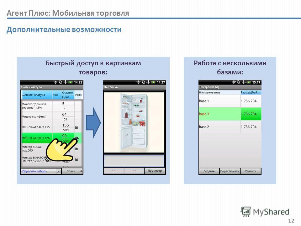 12 Быстрый доступ к картинкам товаров: Дополнительные возможности Работа с несколькими базами: Агент Плюс: Мобильная торговля