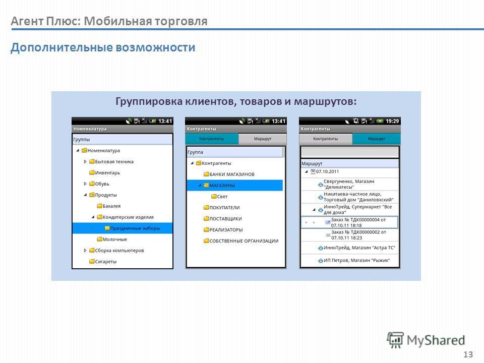 13 Дополнительные возможности Группировка клиентов, товаров и маршрутов: Агент Плюс: Мобильная торговля