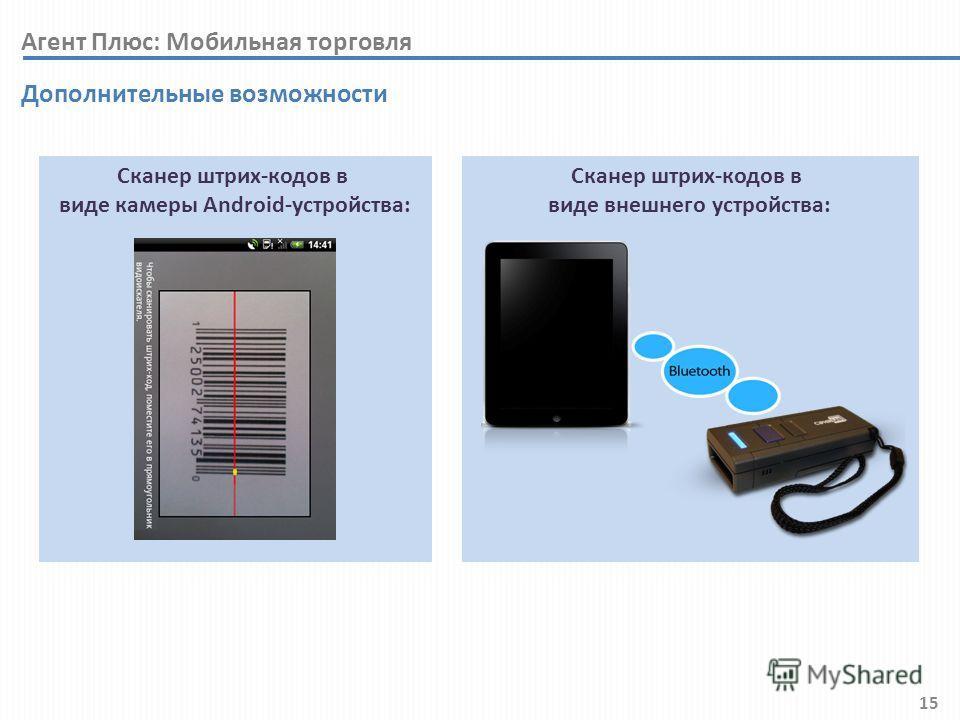 15 Агент Плюс: Мобильная торговля Дополнительные возможности Сканер штрих-кодов в виде внешнего устройства: Сканер штрих-кодов в виде камеры Android-устройства: