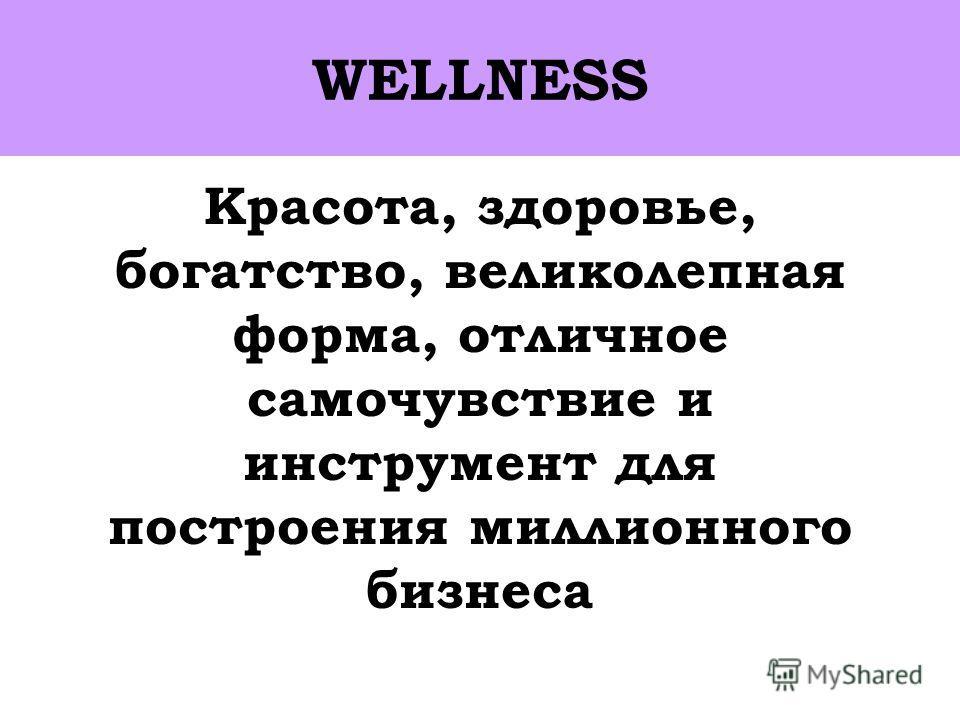 Красота, здоровье, богатство, великолепная форма, отличное самочувствие и инструмент для построения миллионного бизнеса WELLNESS
