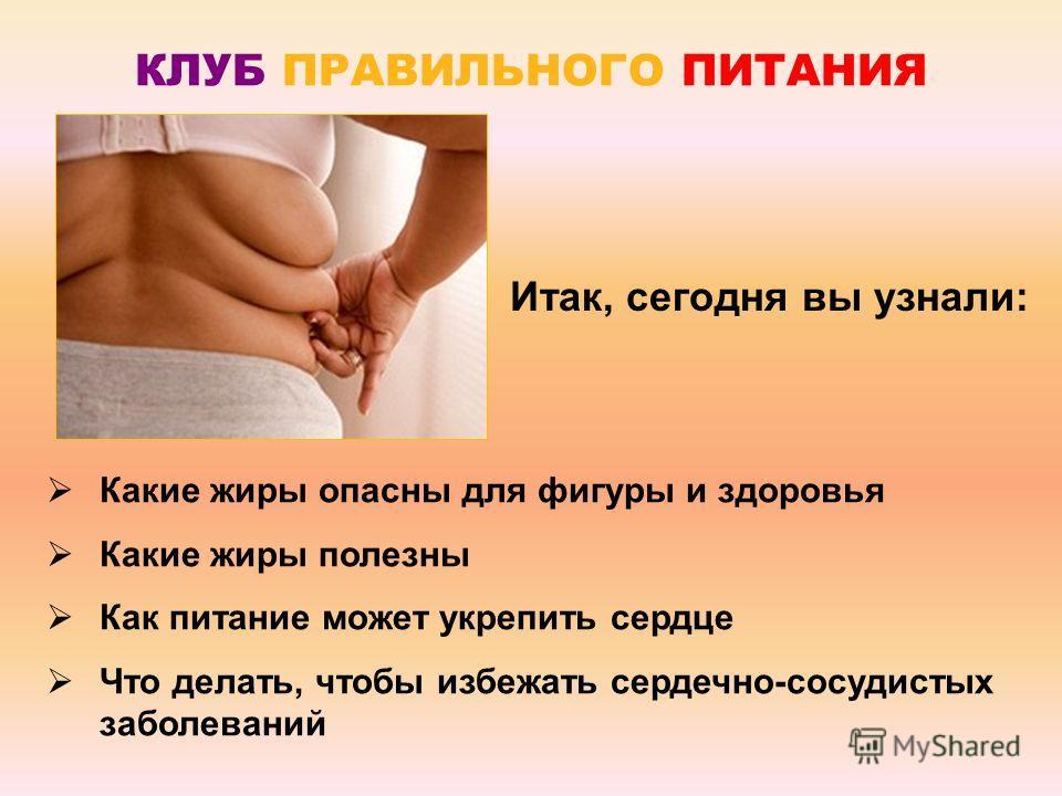 Итак, сегодня вы узнали: Какие жиры опасны для фигуры и здоровья Какие жиры полезны Как питание может укрепить сердце Что делать, чтобы избежать сердечно-сосудистых заболеваний