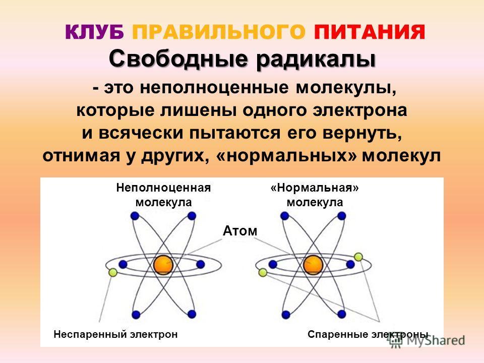 КЛУБ ПРАВИЛЬНОГО ПИТАНИЯ - это неполноценные молекулы, которые лишены одного электрона и всячески пытаются его вернуть, отнимая у других, «нормальных» молекул Свободные радикалы Атом Неспаренный электронСпаренные электроны Неполноценная молекула «Нор