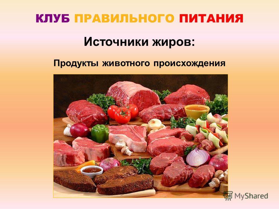 КЛУБ ПРАВИЛЬНОГО ПИТАНИЯ Источники жиров: Продукты животного происхождения