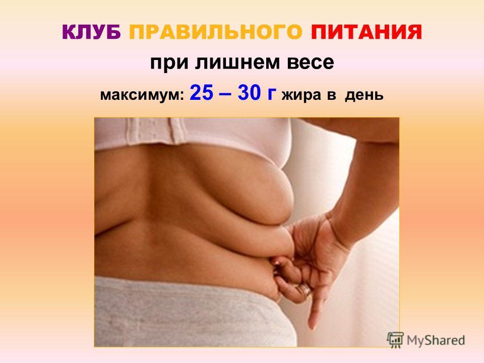 КЛУБ ПРАВИЛЬНОГО ПИТАНИЯ при лишнем весе максимум: 25 – 30 г жира в день