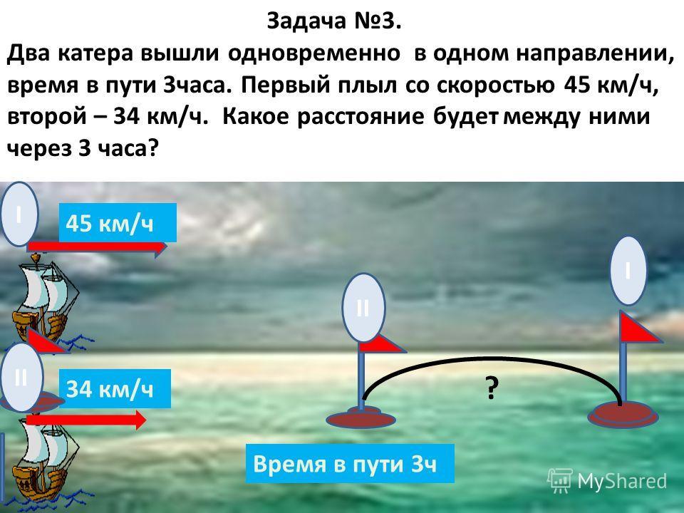 Задача 3. Два катера вышли одновременно в одном направлении, время в пути 3часа. Первый плыл со скоростью 45 км/ч, второй – 34 км/ч. Какое расстояние будет между ними через 3 часа? 45 км/ч 34 км/ч Время в пути 3ч I I II ?