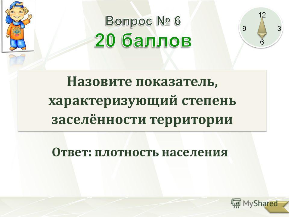 12 9 3 6 Назовите показатель, характеризующий степень заселённости территории Ответ: плотность населения
