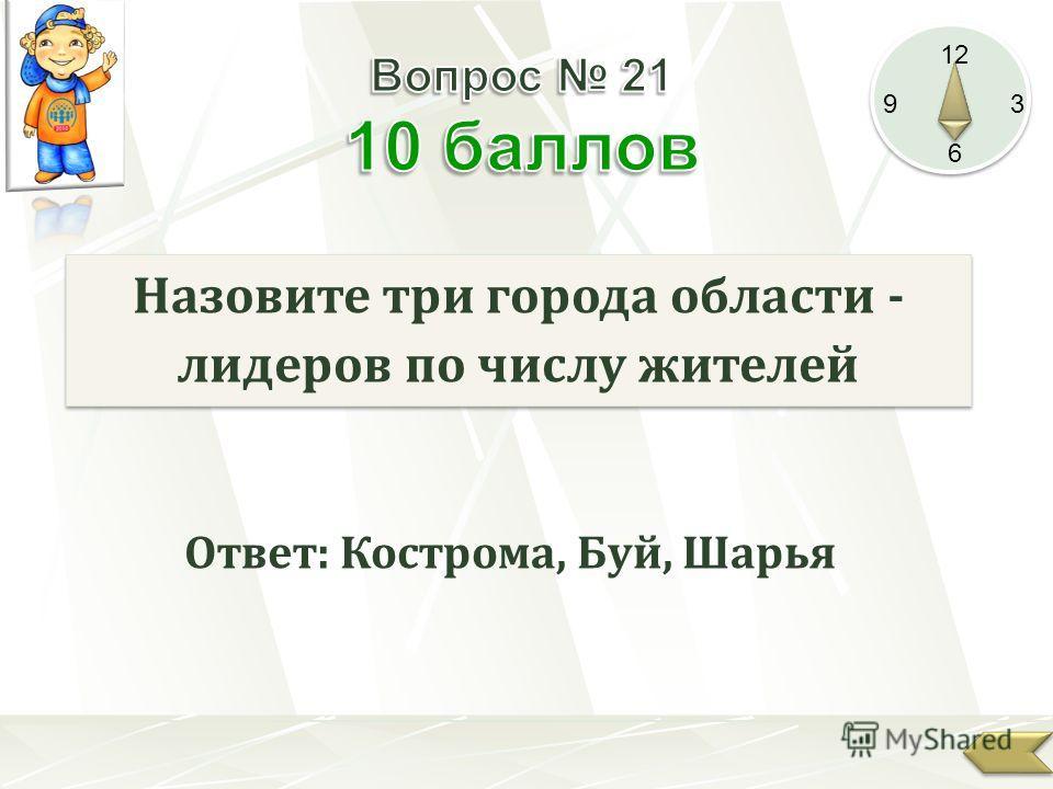 12 9 3 6 Назовите три города области - лидеров по числу жителей Ответ: Кострома, Буй, Шарья
