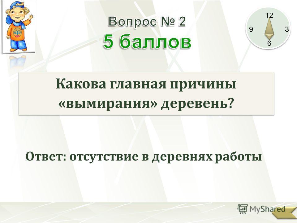12 9 3 6 Какова главная причины «вымирания» деревень? Ответ: отсутствие в деревнях работы