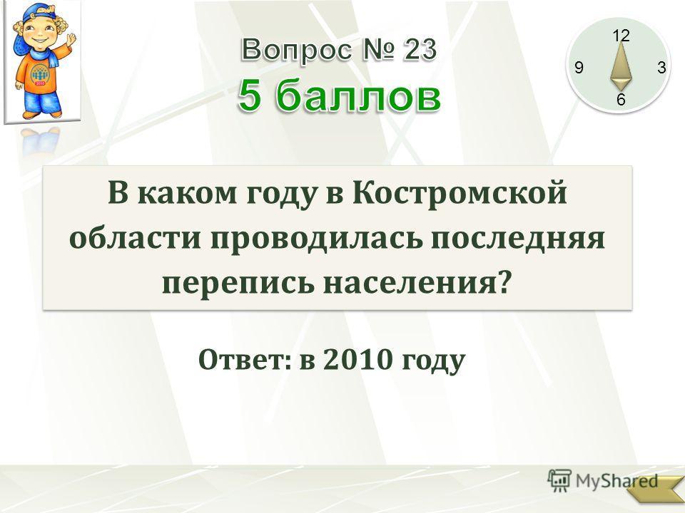 12 9 3 6 В каком году в Костромской области проводилась последняя перепись населения? Ответ: в 2010 году