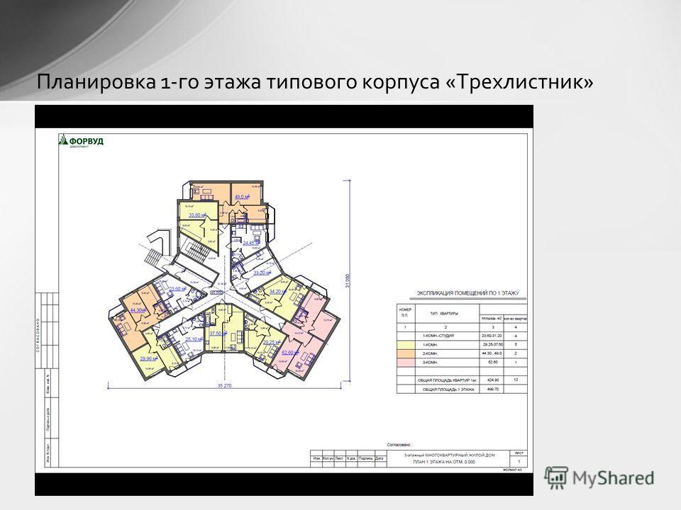 Планировка 1-го этажа типового корпуса «Трехлистник»