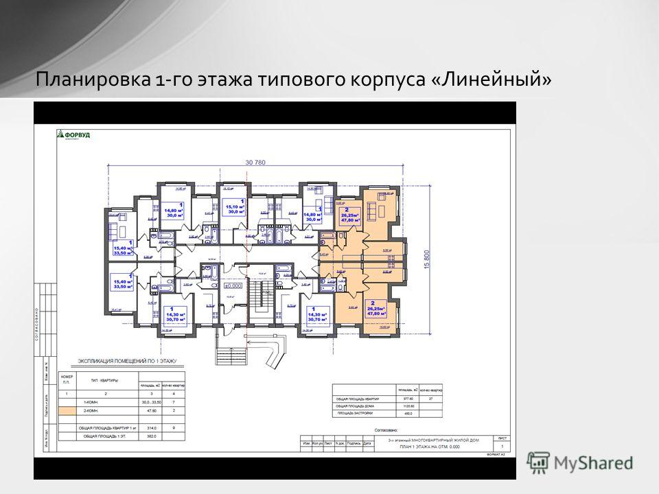 Планировка 1-го этажа типового корпуса «Линейный»