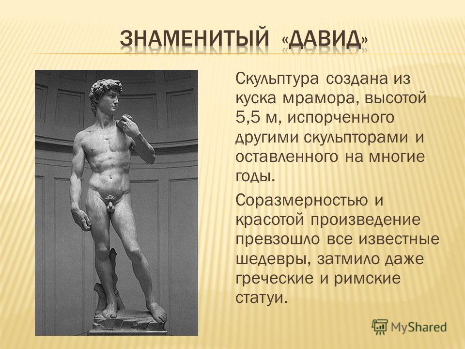 Скульптура создана из куска мрамора, высотой 5,5 м, испорченного другими скульпторами и оставленного на многие годы. Соразмерностью и красотой произведение превзошло все известные шедевры, затмило даже греческие и римские статуи.