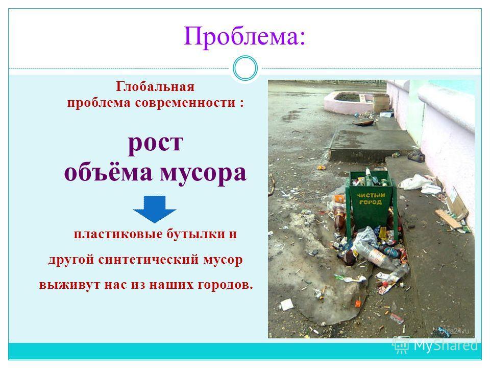 Проблема: Глобальная проблема современности : рост объёма мусора пластиковые бутылки и другой синтетический мусор выживут нас из наших городов.