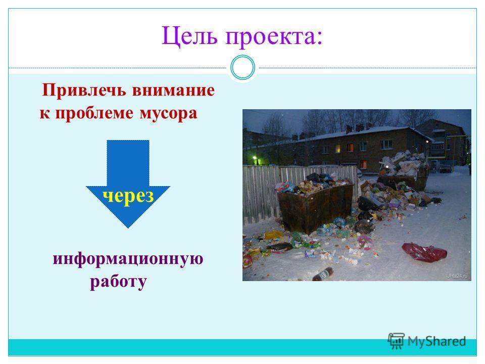 Цель проекта: Привлечь внимание к проблеме мусора через информационную работу