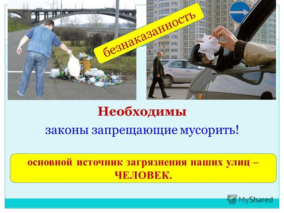 Необходимы законы запрещающие мусорить! безнаказанность основной источник загрязнения наших улиц – ЧЕЛОВЕК.