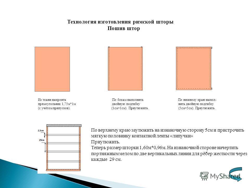 Технология изготовления римской шторы Пошив штор Из ткани выкроить По бокам выполнить По нижнему краю выпол- прямоугольник 1,75м*1м двойную подгибку нить двойную подгибку (с учётом припусков). (1см+1см). Приутюжить. (5см+5см). Приутюжить. По верхнему