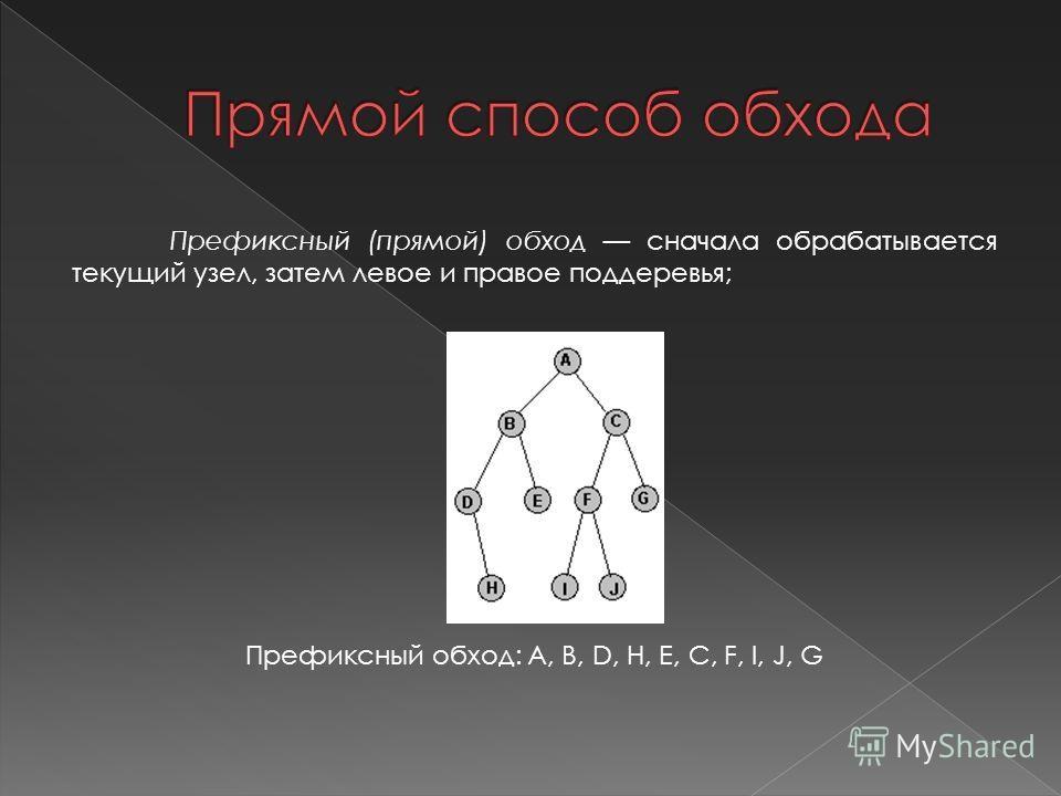 Префиксный (прямой) обход сначала обрабатывается текущий узел, затем левое и правое поддеревья; Префиксный обход: A, B, D, H, E, C, F, I, J, G