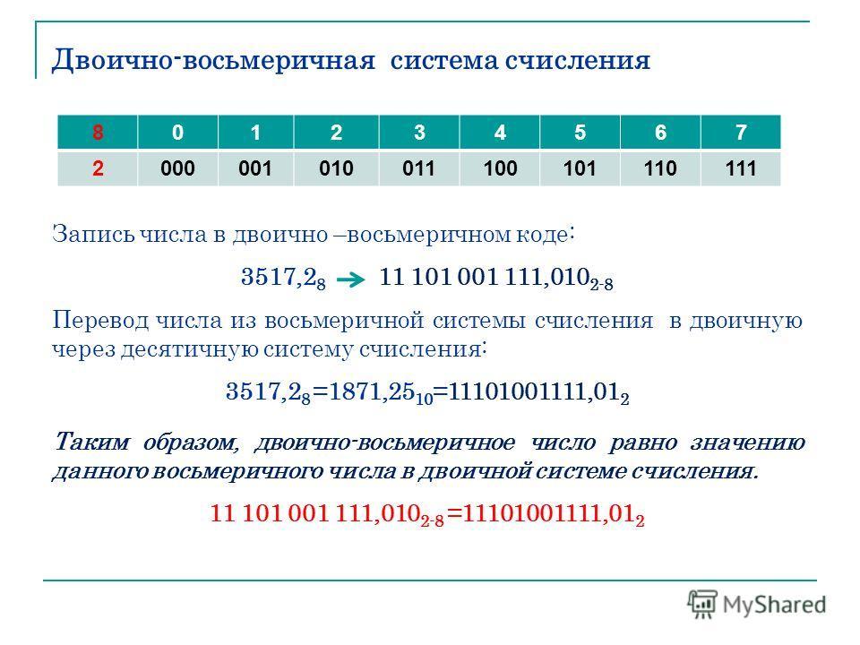 Двоично-восьмеричная система счисления Запись числа в двоично –восьмеричном коде: 3517,2 8 11 101 001 111,010 2-8 Перевод числа из восьмеричной системы счисления в двоичную через десятичную систему счисления: 3517,2 8 =1871,25 10 =11101001111,01 2 Та