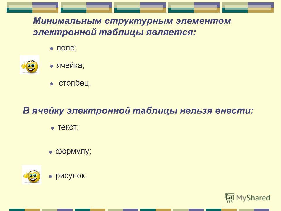 поле; ячейка; столбец. Минимальным структурным элементом электронной таблицы является: В ячейку электронной таблицы нельзя внести: текст; формулу; рисунок.