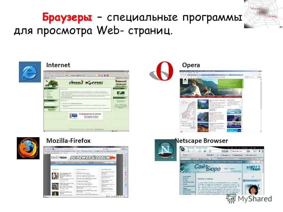 Internet ExplorerOpera Mozilla-Firefox Netscape Browser Браузеры Браузеры – специальные программы для просмотра Web- страниц.