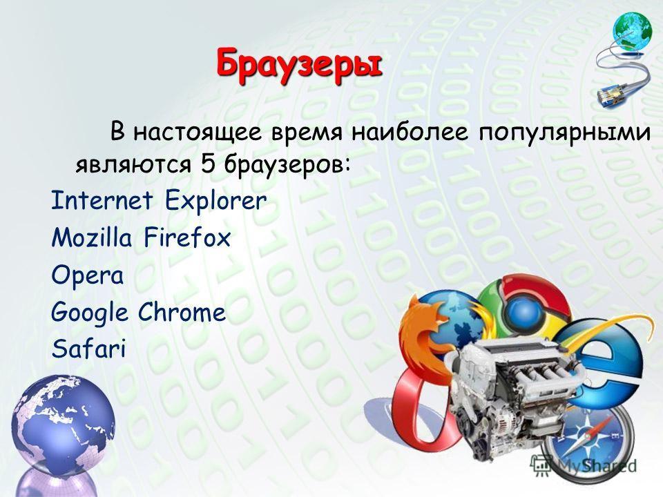 В настоящее время наиболее популярными являются 5 браузеров: Internet Explorer Mozilla Firefox Opera Google Chrome Safari Браузеры