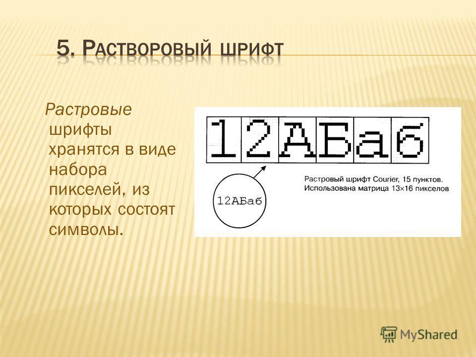 Растровые шрифты хранятся в виде набора пикселей, из которых состоят символы.