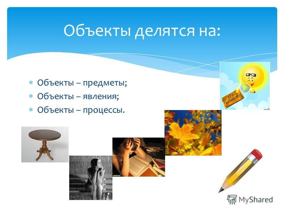 Объекты – предметы; Объекты – явления; Объекты – процессы. Объекты делятся на: