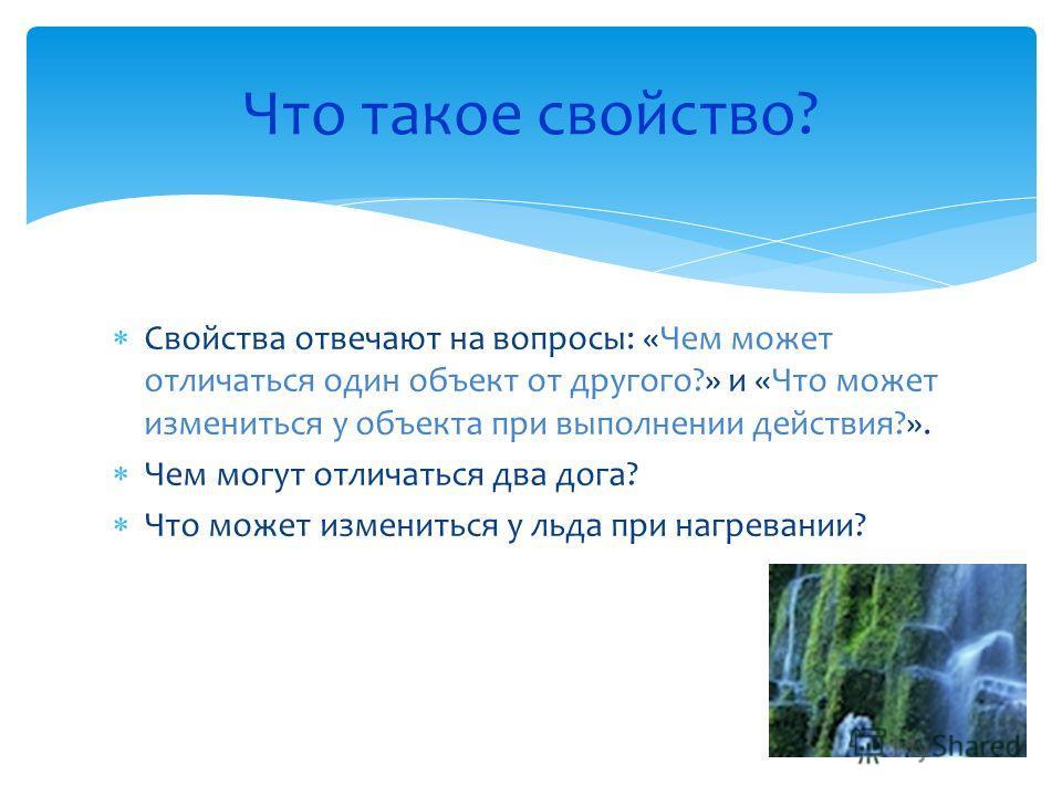 Свойства отвечают на вопросы: «Чем может отличаться один объект от другого?» и «Что может измениться у объекта при выполнении действия?». Чем могут отличаться два дога? Что может измениться у льда при нагревании? Что такое свойство?